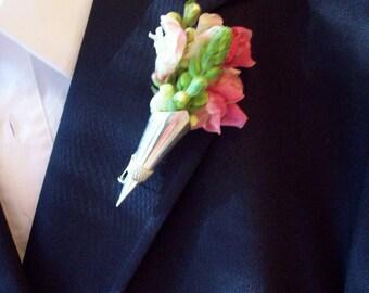 RESERVED Bird Silver Boutonniere lapel vase holder button hole keepsake silver groom men lapel pin wedding alternative