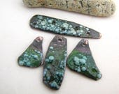Torch Fired Enamel Copper Bar and Charm Connector Set Green with Pastel Blue Speckles 4 Piece Connector Bar with Organic Charms