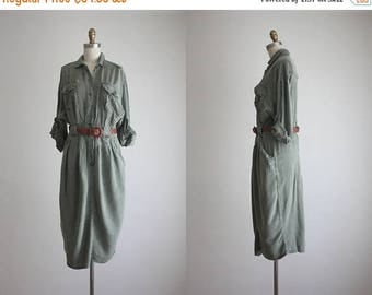 25% SALE distressed olive sage shirtdress