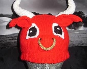 40% OFF SALE Instant Digital File PDF Download Red Bull Beanie Hat pdf knitting pattern