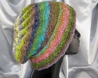 40% OFF SALE Instant Digital File pdf download knitting pattern Silk Garden Swirl Slouch hat pdf download knitting pattern