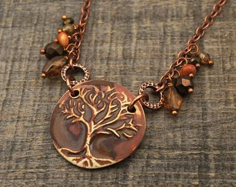 Brown tree necklace, antiqued copper chain, brown Boho jewelry 21 inches long