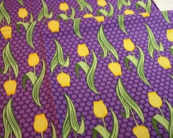 Amanada Murphy for Robert Kaufman Veranda Purple Yellow Tulips
