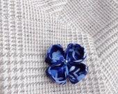 Blue Lapel Flower Custom Lapel Pins Mens Lapel Pin Flower Lapel Pin Boyfriend Gift for Men Kanzashi Brooch Blue Boutonniere Suit Pin Husband