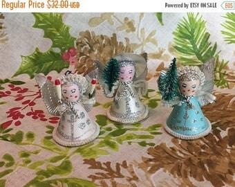 Christmas Sale Vintage 1950s Angel Ornaments Spun Cotton Mica Set of 3 Christmas Japan Mid Century