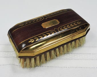 Vintage Art Deco Brush, Brass and Wood, 1940's