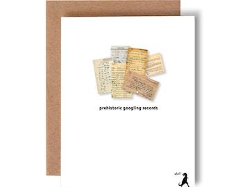 prehistoric googling // greeting card // humor // skel // skel design // skel & co