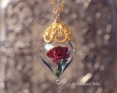 Classic Red Rose Flower Terrarium Glass Vial Necklace - 14kt. Gold Fill - Beauty and the Beast - by Woodland Belle