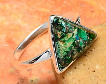 Triangle Sterling Silver and Green Copper Turquoise Ring Size 7