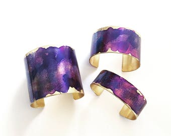 Violet Watercolor Patina Cuff