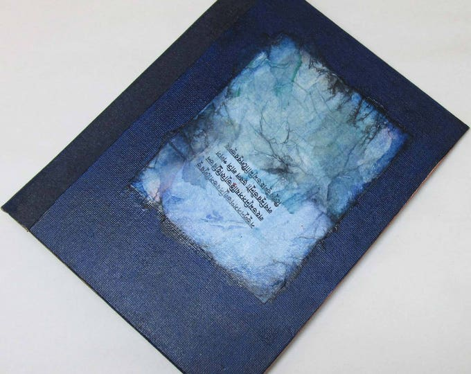 Handmade Journal Refillable Indigo collage 9x7 Original traveller notebook fauxdori