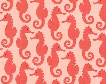 Robert Kaufman Fabric Reef Collection Seahorses in Peach by Elizabeth Hartman, Choose your cut