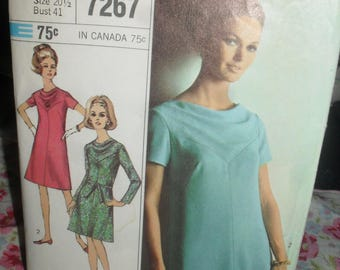Vintage Simplicity Sewing  Pattern - Dress Designer Fashion  - Size  half/Sixe - 1967 - # 7267
