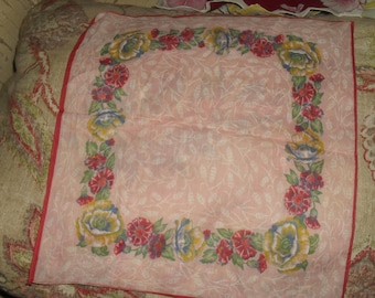 Vintage  Hankie Handkerchief - Red and yellow Flowers Pattern - Pink Background