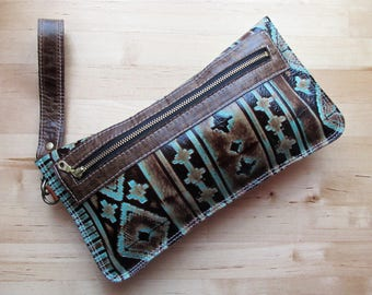 Leather wristlet clutch, iphone wallet case, pouch, Navajo embossed leather clutch, leather clutch bag, clutch purse Turquoise