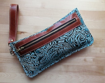Southwestern embossed leather bag in Turquoise, zipper pouch, leather clutch / wristlet, gift for Mom, Birthday gift, Iphone case