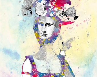 MONA LISA art print art painting art texture wall art leonardo da vinci art flowers