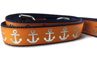 Dog Leash, Orange Foil Anchors, 1 inch wide, 1 foot, 4 foot, or 6 foot