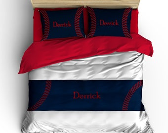 Custom Baseball Bed Runner/Scarf -Navy and Red Stitch Graphic Design- All Bedding Sizes, Personalized