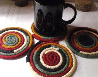 Black, Cream, Gold, Maroon and Green Coiled Fabric Coasters - Set of 4  Absorbent Coaster Handmade by YellowViolet