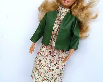 Barbie day dress and jacket - cream/green
