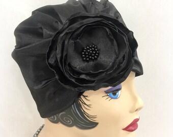 Satin Turban - Speakeasy Hat - Gatsby Hat - Black Satin Turban - Formal Chemo Hat - Satin Flapper Hat - Black Modesty Hat - Handmade in USA