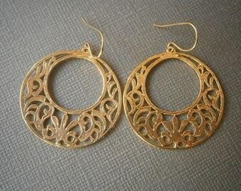 Gold Filigree Earrings, Hoop Earrings, Best Friend Birthday, Gifts Under 30, Gift for Her, Statement Earrings