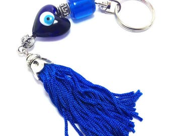 Greek key evil eye heart keyring - Blue tassel - Greek mati - Car/home gift - car accessories - Home decoration - greek amulet