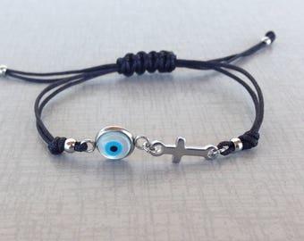 Evil eye cross bracelet  -  Handmade jewelry - Stainless steel - protection - Greek jewelry - Greek mati - gift for her