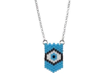 Evil eye chevron necklace - Sterling silver - protection - luck - gift for her - fashion evil eye - evil eye beaded necklace -