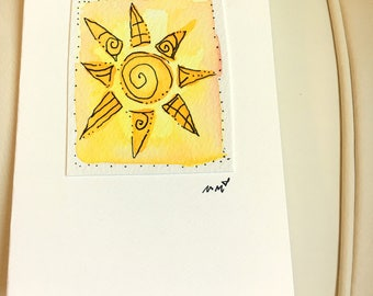 "Tiny Sun Note Watercolor Original ""Little Card"" 31/2"" x 47/8"" Watercolor Card and Envelope Inside etrueoriginals"
