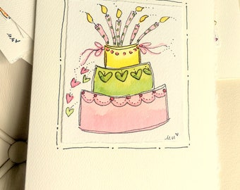 "Birthday Cake  Watercolor Original Card ""Big Card"" 5x7 With Matching Envelope  betrueoriginals"