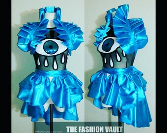 Cosplay Tear drop Sequin eye mesh crop top shoulder collar shrug wrap and a  Bustle Burlesque skirt