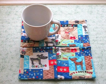 its a dogs life hand quilted set of mug rugs coasters