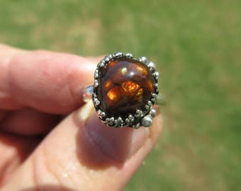 EYEPOPPING ELECTRA with EUPHORIA - Sterling Silver Mexican Fire Agate Ring - Size 8 3/4 - Free Resizing