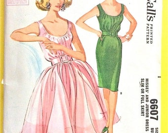 ON SALE Uncut McCall's 6607 1960s  Misses' Dress Slim or Full Skirt shirred bodice  gore slim or gathered skirt Vintage Sewing Pattern Bust