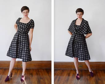 3 piece Handmade 1950s Houndstooth Dress Skirt and Cape Set - XS/S