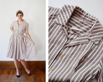 Deadstock 1950s Brown and White Striped Shirtwaist Dress - S
