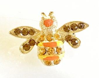 Vintage Rhinestone Enamel Bug Fly Brooch Pin