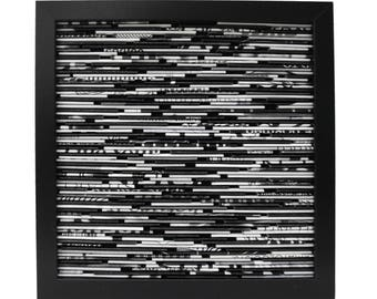 black and white BLACK square shadowbox wall art - made from recycled magazines, grey, modern, texture, classic, muted tones,beautiful unique
