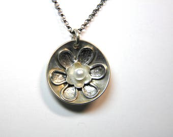 Sterling Silver Rustc Flower and Pearl Pendant- Handmade