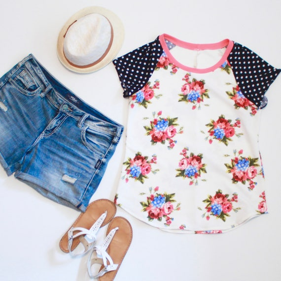 Pretty Pink Floral Tee with Polka Dots