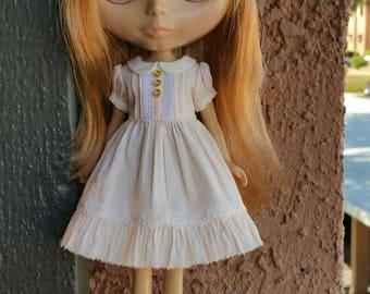 Babydoll dress for blythe - Sweet Almond Cream