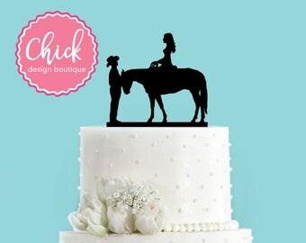 Country Wedding Couple and Horse Acrylic Wedding Cake Topper