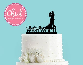 Custom Name and Couple Dancing Acrylic Wedding Cake Topper
