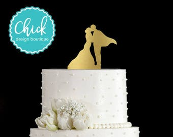 Superhero Couple in Love Wedding Cake Topper Hand Painted in Metallic Paint