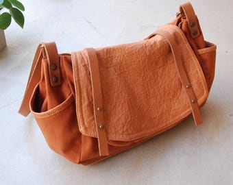 Large satchel bag wrinkled leather and Tan cotton canvas