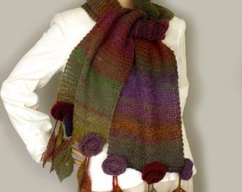 Flower leaf scarf Knit scarf wrap Log knit scarf Scarf with flowers Gypsy scarf Hippie scarf Colorful scarf Boho floral scarf Gift for her