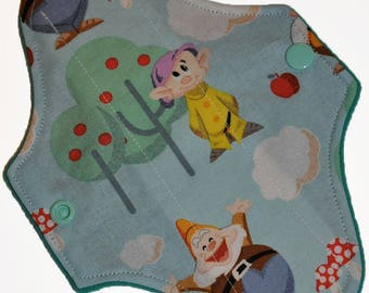 Liner Hemp Core- Seven Dwarfs Reusable Cloth Mini Pad- WindPro Fleece- 7.5 Inches (19 cm)