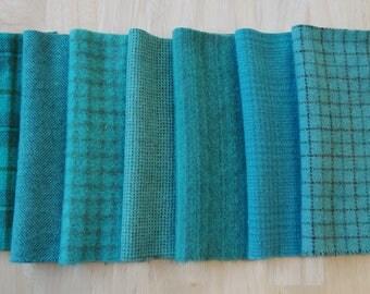 Turquoise - Sarcelle - Aqua - à la main en laine feutrée teint tissus idéal pour accrocher tapis - laine Applique - Quilting - coudre quilting Acres